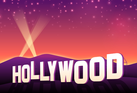 city lights: Hollywood hills iconic hollywood movie sign at sunset. Illustration