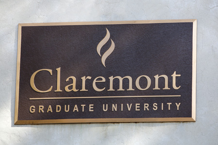 Claremont, CA, USA - April 14, 2017: The sign for Claremont Graduate University, a liberal arts college in southern California.