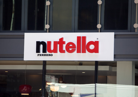CHICAGO/USA - June 1, 2017: A view of the facade of the Nutella cafe. A new Nutella-themed cafe selling versions of their famous hazelnut products. Sajtókép