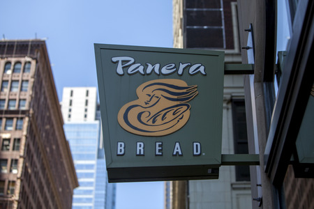 CHICAGO, USA - June 1, 2017: Panera Bread restaurant exterior sign. Panera Bread is a chain of bakery-cafe fast casual restaurants in the United States and Canada.
