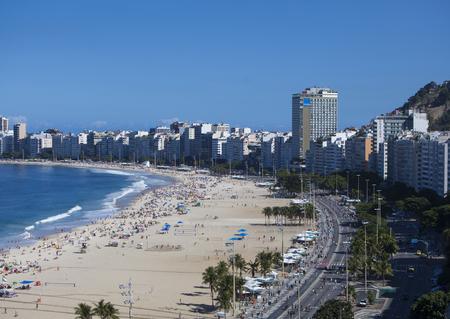 Rio De Janeiro, Brazil - June 25, 2017: A view of the famous Copacabana beach and hotels lining it in Rio De Janeiro Brazil.