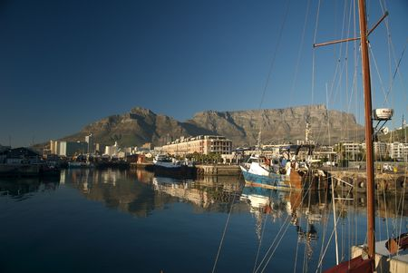 Cape Town Waterfront Harbour with Table Moutnain in the background