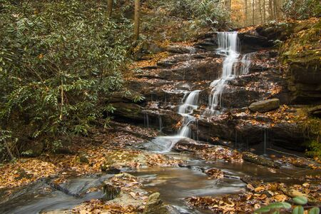 Small waterfall in the Smoky Mountains during fall Stock Photo - 145007492