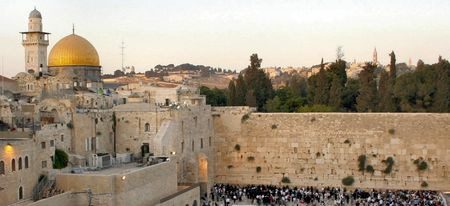 A view of the Temple Mount in Jerusalem, including the Western Wall and the golden Dome of the Rock. Stock Photo - 345346