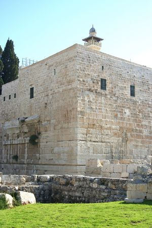 The Walls of the Old City in Jerusalem and the Temple Mount photo