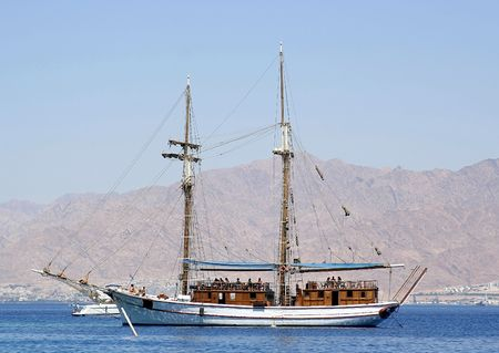 A sailing boat in The Red Sea, israel photo