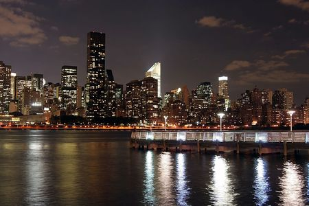 Manhattan skyline at Twilight Stock Photo