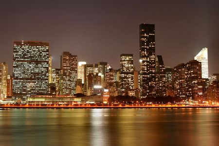 Manhattan skyline at Night Lights Banque d'images