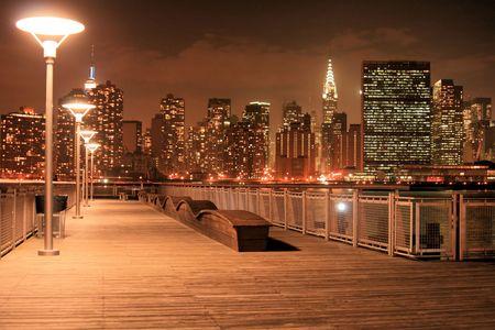 Manhattan skyline at Night Lights Stock Photo