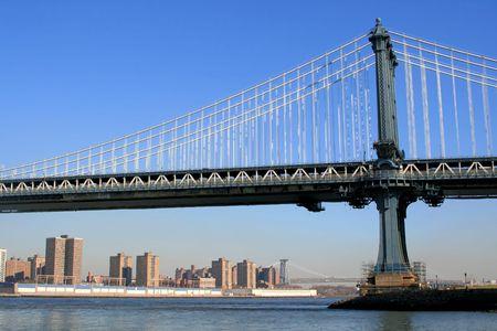 Manhattan bridge on a clear blue day, New York City