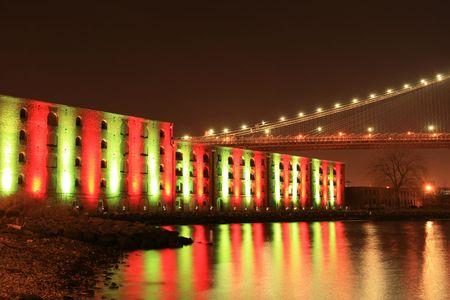 Brooklyn Bridge and Manhattan skyline At Night Stock fotó