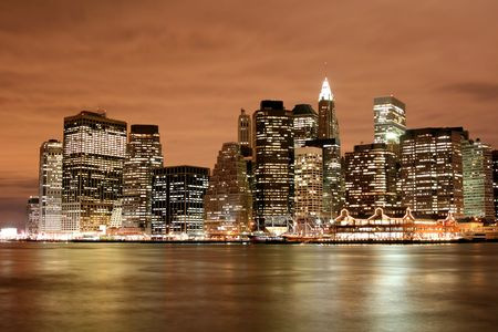 Manhattan skyline at Night Lights photo
