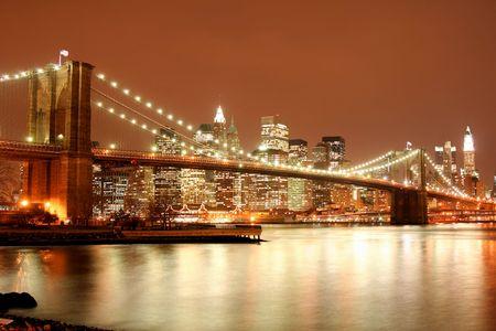 Brooklyn Bridge and Manhattan skyline At Night Lights, NYC   Stock Photo