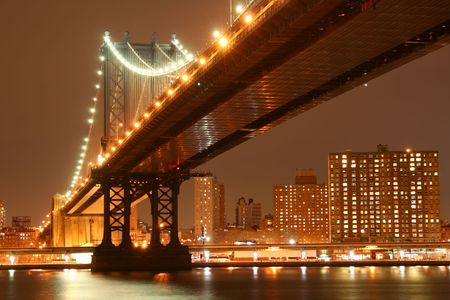 Manhattan Bridge and Manhattan skyline At Night Lights, NYC Stock Photo - 817515