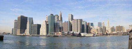 seaports: Panoramic view of Lower Manhattan skyline, New York City