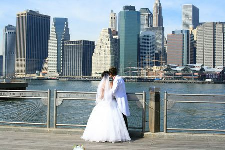 The Bride and the Groom and New York City Skyline
