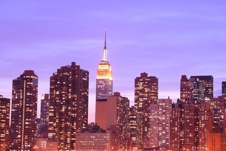Manhattan skyline At Night Lights, NYC  photo