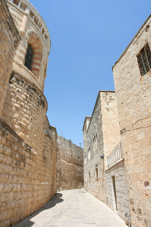 ancient buildings: An alley in the old city of Jerusalem, Israel.