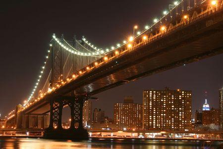 Manhattan Bridge and Manhattan skyline At Night Stock Photo - 2042818