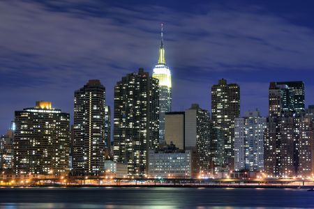 newyork: Midtown Manhattan skyline at Night Lights, NYC Stock Photo