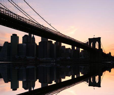 Brooklyn Bridge and Manhattan skyline At Sunset, New York City Stock Photo - 2319352