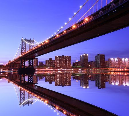 Manhattan Bridge and Manhattan skyline At Night Lights, NYC Stock Photo - 2319356