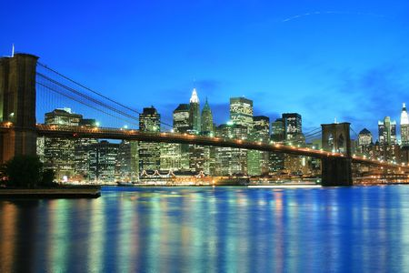 Brooklyn Bridge and Manhattan skyline At Night, New York City Stock Photo - 2319354