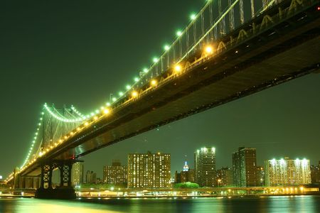 Manhattan Bridge and Manhattan skyline At Night Lights, NYC Stock Photo - 2319343