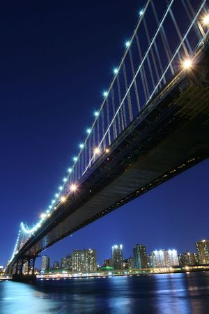 Manhattan Bridge and Manhattan skyline At Night Lights, NYC Stock Photo - 2319347