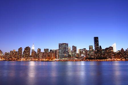 midtown: Midtown Manhattan skyline at Night Lights, New York City