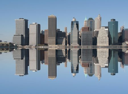 Manhattan skyline on a Clear Blue day Stock Photo