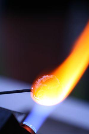 round rods: Artist works on glass