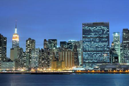 Manhattan skyline At Night Lights, NYC Stock Photo - 3083774