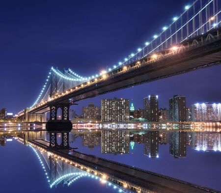 Manhattan Bridge and Manhattan skyline At Night Lights, NYC Stock Photo - 3083775