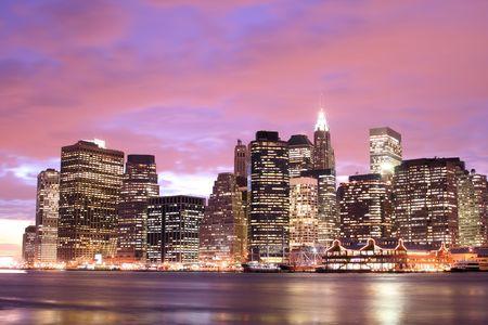 Lower Manhattan skyline At Sunset, New York City