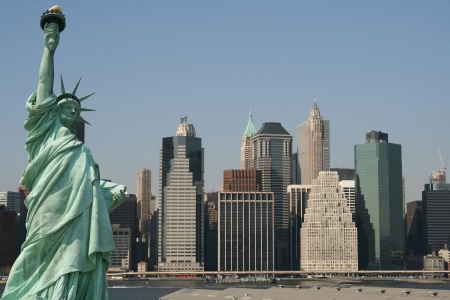 Manhattan skyline and the Statue of Liberty Stock Photo - 3558170
