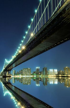 Manhattan Bridge and Manhattan skyline At Night Stock Photo - 3558166