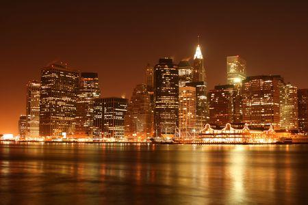 Manhattan skyline at Night Lights Stock Photo - 3641432