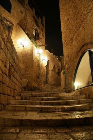 Alley in Old Jaffa at Night Stock Photo - 3641429