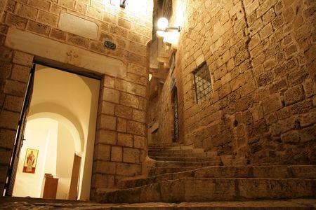 Steegje in Old Jaffa op Night Stockfoto