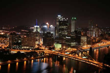 Pittsburgh's skyline from Mount Washington at night. Stock Photo - 3796849