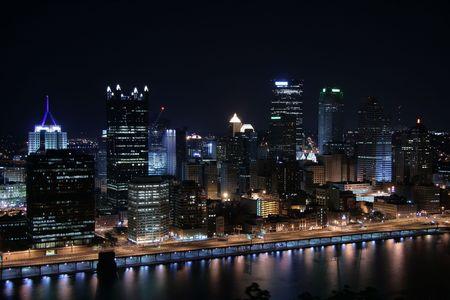 Pittsburgh's skyline from Mount Washington at night. Stock Photo - 3796847