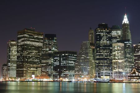 Lower Manhattan skyline At Night Stock Photo - 4006882