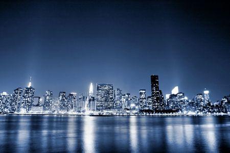 Midtown Manhattan, à Nuits Banque d'images