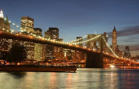 Brooklyn Bridge and Manhattan skyline At Night, New York City Stock Photo - 4488521
