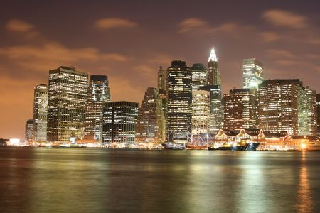 Lower Manhattan skyline At Night Stock Photo - 4496042