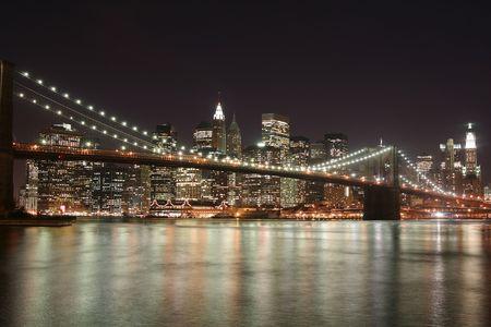 city park skyline: Brooklyn Bridge and Manhattan skyline At Night, New York City