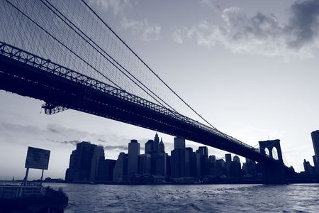 Brooklyn Bridge and Manhattan skyline At Night, New York City Stock Photo - 4488524