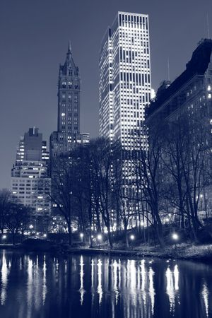 Central Park and manhattan skyline at night, New York City Stock Photo - 4496043