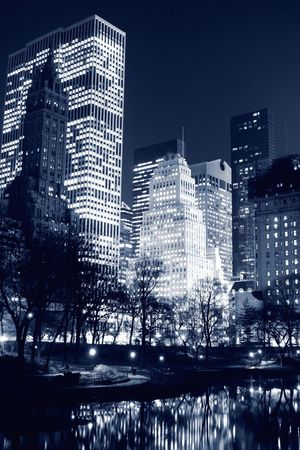 Central Park and manhattan skyline at night, New York City Stock Photo
